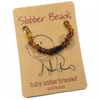 Slobber Beads - baltic amber bracelet or anklet, rainbow