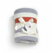 natures purest - knitted blanket, grey cream & orange stripe