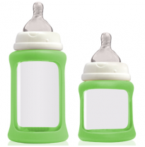 cherub baby - colour change wide neck glass bottle, green