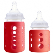 cherub baby - colour change wide neck glass bottle, red