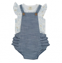 Tiny twig - frill romper, blue chambray