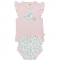 Tiny twig - singlet set, soft pink/love birds