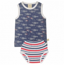 Tiny twig - singlet set, fish/mariner stripes