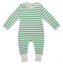 Tiny twig - zip growsuit, emerald stripes