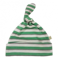 Tiny twig - knot hat, emerald stripes