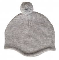 Tiny twig - knit pompom beanie, grey marle
