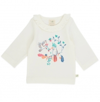 Tiny twig - frill round neck tee, garden floral