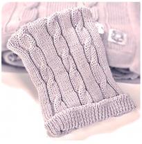 Leroy Mac Designs - merino wool beanie, chunky grey cable knit
