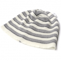 Leroy Mac Designs - merino wool beanie, grey stripes