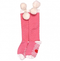 oobi - knee high pom pom socks, pink with white pom poms