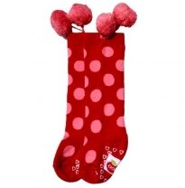oobi - knee high pom pom socks, red with pink dots