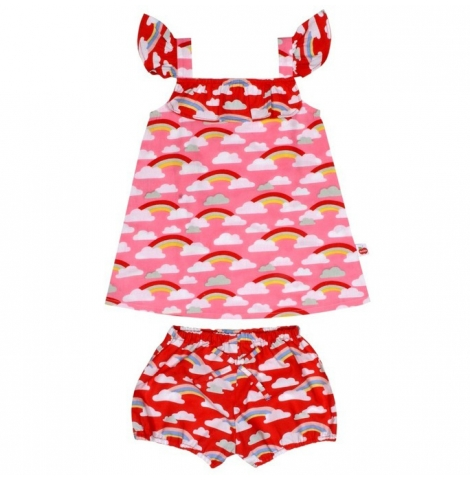 oobi - rosie cotton babydoll dress & bloomers set, rainbow