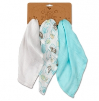 olliboo - bamboo muslin reusable wipe set, ocean blue