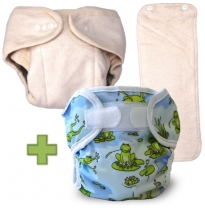 Baby e - organic cotton sherpa day nappy + cover