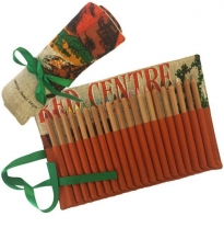 vintage tea towel - pencil roll, red centre