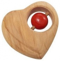 nic toys - wooden heart rattle, red bead