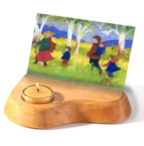 dipam - wooden card holder with beeswax candle