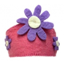 PAPOOSE - felt crown, pink with flower
