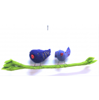 PAPOOSE - felt birds on a branch, father & son 30cm