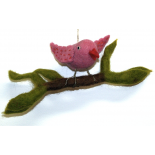 PAPOOSE - felt bird on a branch, pink 25cm