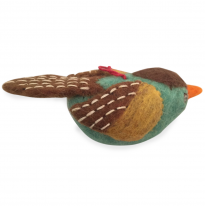 PAPOOSE - felt hanging bird, green with brown wings
