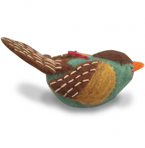 PAPOOSE - felt hanging bird, green with brown wings 11cm