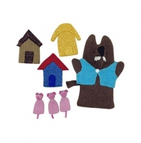 PAPOOSE - felt hand puppet gift boxed set, 3 little pigs