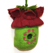 PAPOOSE - felt bird house, 3D flower 28cm