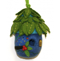 PAPOOSE - felt bird house, leaf roof 28cm