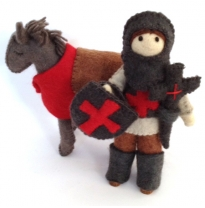 PAPOOSE - felt knight & horse set, red