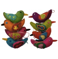 PAPOOSE - felt hanging birds, bright colours 10cm