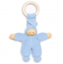 nanchen natur - teething ring doll, blue
