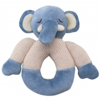 my natural - knitted teether rattle, elephant