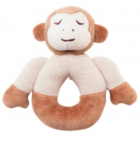 my natural - knitted teether rattle, monkey