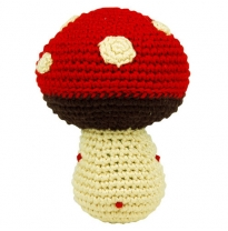 dandelion - handcrafted pudgy rattle, mushroom