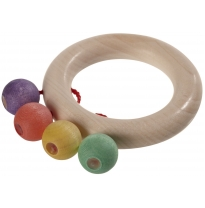 Walter - teething ring rattle with four beads